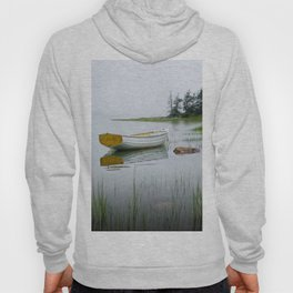 White Maine Boat on a Foggy Morning Hoody