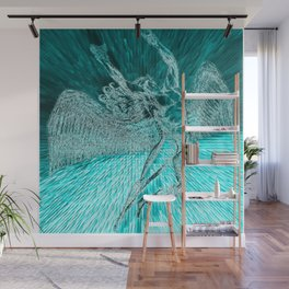 ICARUS THROWS THE HORNS - aqua explosion Wall Mural
