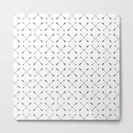 Crossed Arrows Pattern - Black and white Metal Print