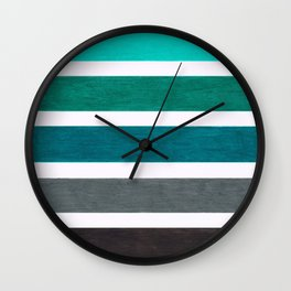 Aqua Turquoise Colorful Pattern Wall Clock