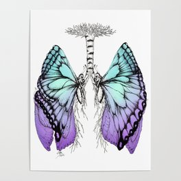 Butterfly Lungs Blue Purple Poster