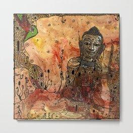 Ink Bouddha Metal Print