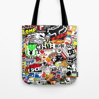 sticker Tote Bags featuring Sticker Bomb by SOPHIA FREITAS