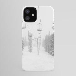 Empty Chairlift // Alone on the Mountain at Copper Whiteout Conditions Foggy Snowfall iPhone Case