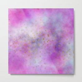 Watercolor Pink & Lilac Clouds & Stars Metal Print