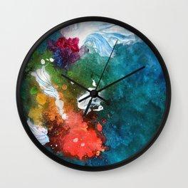 Rainbow Splatter Koi Wall Clock