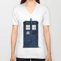 tardis V-neck T-shirts featuring Tardis by Rebecca Bear