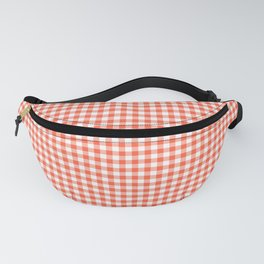 Small Living Coral Orange and White Buffalo Check Plaid Fanny Pack