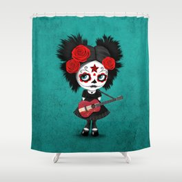 Day of the Dead Girl Playing Latvian Flag Guitar Shower Curtain