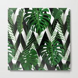 Geometrical green black white tropical monster leaves Metal Print