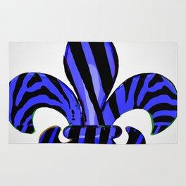 Fleur De Lis Blue Zebra Print Rug