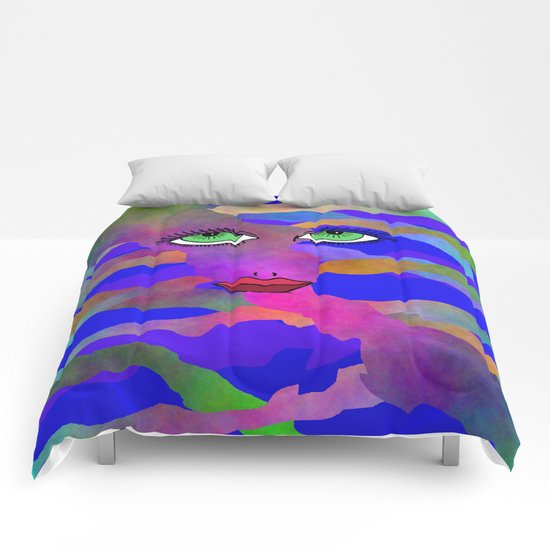 Eyes and Lips Colorful Comforters