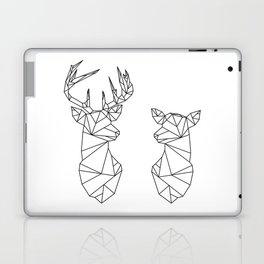 Geometric Stag and Doe (Black on White) Laptop & iPad Skin