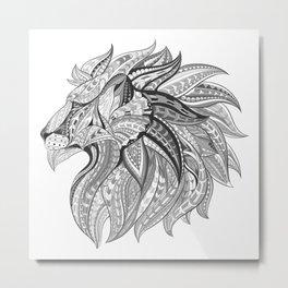 Ethnic Tribal Lion Doodle 02 Metal Print