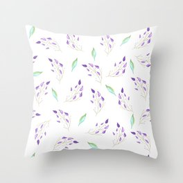 Mint and Leaves Throw Pillow