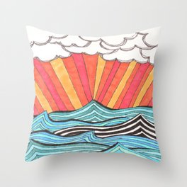 Rays of Sunshine on a Cloudy Day. Throw Pillow