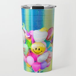 Colorful Balloons on Rainbow Wall Travel Mug