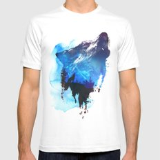 Alone as a wolf White SMALL Mens Fitted Tee