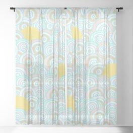 Retro Rainbow and Sun Pattern Sheer Curtain