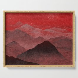 Through hilly lands and hollow lands - Red option Serving Tray