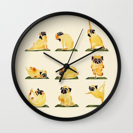 Pug Yoga Watercolor Wall Clock