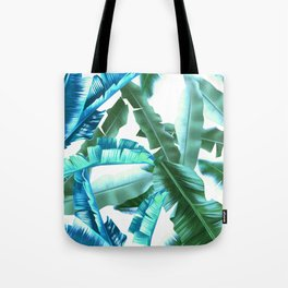 tropical banana leaves pattern turquoise Tote Bag