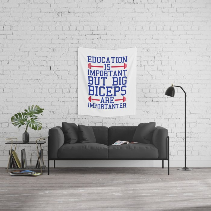 9140f39e Big Biceps Gym Quote Wall Tapestry by jcanimals | Society6