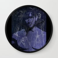 leather Wall Clocks featuring Leather by Azure Cricket