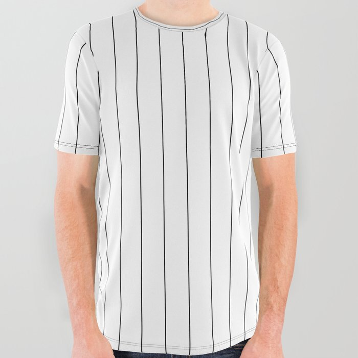e270c38f White Black Pinstripes Minimalist All Over Graphic Tee by ...