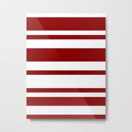 Mixed Horizontal Stripes - White and Dark Red Metal Print