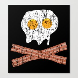 Eggs Bacon Skull (scratched) Canvas Print