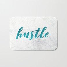 Blue Hustle Text Marble Bath Mat