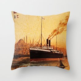 Vintage French Orient Shipping line Paris Mediterranean Throw Pillow