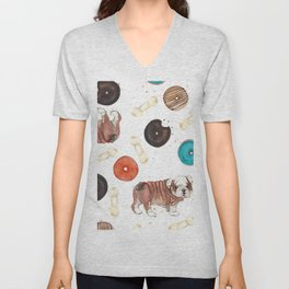 Bulldogs and donuts Unisex V-Neck