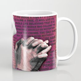 Albert Einstein and Quotes Gold and Red Coffee Mug