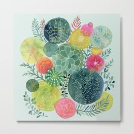 Succulent Circles Metal Print