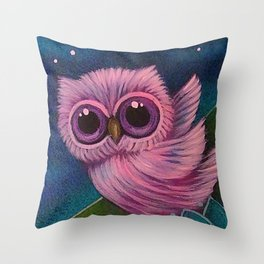 SPRING TINY PINK OWL FLYING IN MY GARDEN Throw Pillow