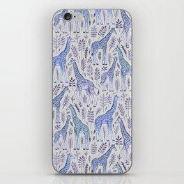 Blue Giraffe Pattern iPhone Skin