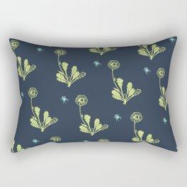 Spider Daisies (green + navy) Rectangular Pillow