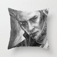 thranduil Throw Pillows featuring Thranduil by Lisa Buchfink