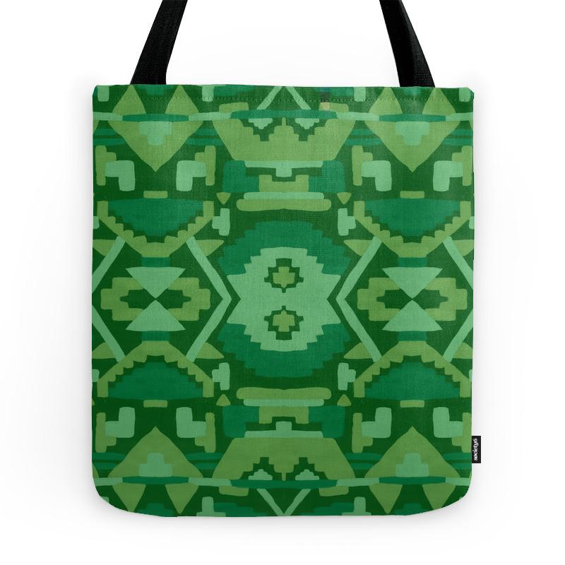 Geometric Aztec in Forest Green Tote Purse by amandalaurelatkins (TBG7823321) photo