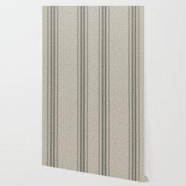 Farmhouse linen grey rustic grain sack texture vintage farmhouse lined linen design modern rustic Wallpaper
