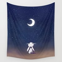 bunny Wall Tapestries featuring Moon Bunny by Freeminds