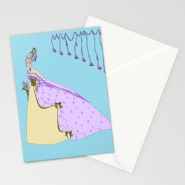 A Lavender Rose Bride with Bouffant Hair Stationery Cards