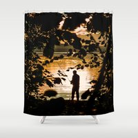 fishing Shower Curtains featuring Fishing by Svetlana Korneliuk
