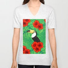 Tropical pattern with toucan and  tropical leaves Unisex V-Neck