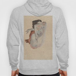 Crouching Nude in Shoes and Black Stockings, Back View - Egon Schiele Hoody