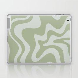 Liquid Swirl Abstract Pattern in Sage Green and Light Sage Gray Laptop & iPad Skin