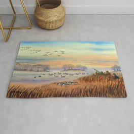 Goose Hunting Season Colorful Painting Rug