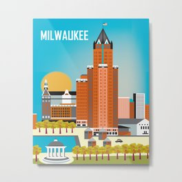 Milwaukee, Wisconsin - Skyline Illustration by Loose Petals Metal Print